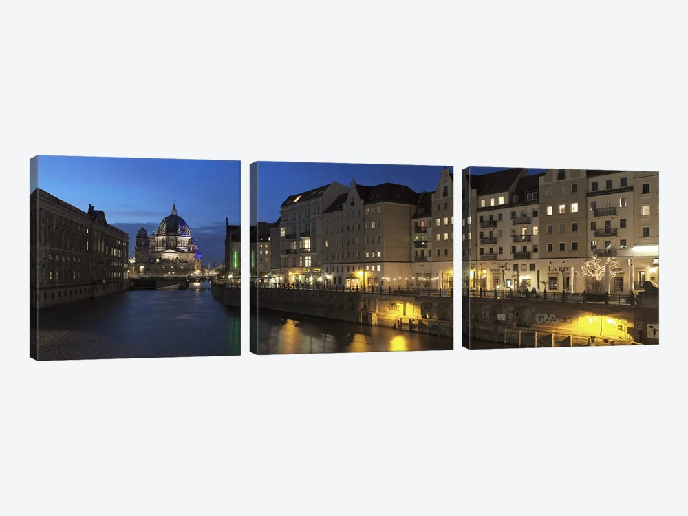 Berlin Cathedral and Nikolaiviertel at Spree River, Berlin, Germany by Panoramic Images 3-piece Canvas Wall Art