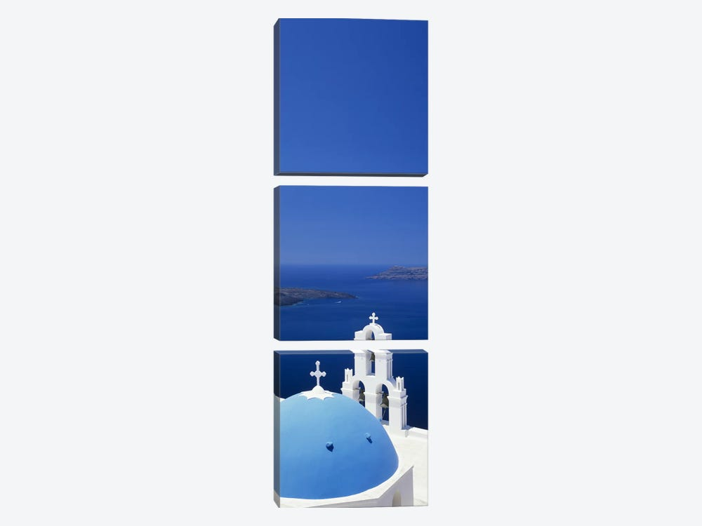 High angle view of a church, Firostefani, Santorini, Cyclades Islands, Greece by Panoramic Images 3-piece Canvas Art Print