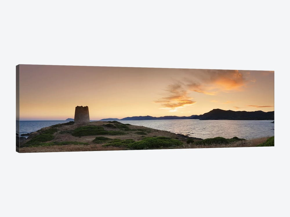 Tower at the seaside, Saracen Tower, Costa del Sud, Sulcis, Sardinia, Italy by Panoramic Images 1-piece Canvas Artwork