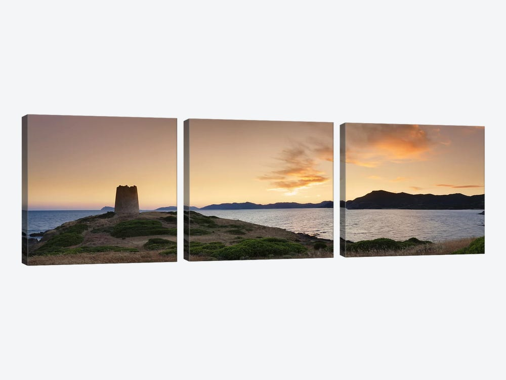 Tower at the seaside, Saracen Tower, Costa del Sud, Sulcis, Sardinia, Italy by Panoramic Images 3-piece Canvas Wall Art