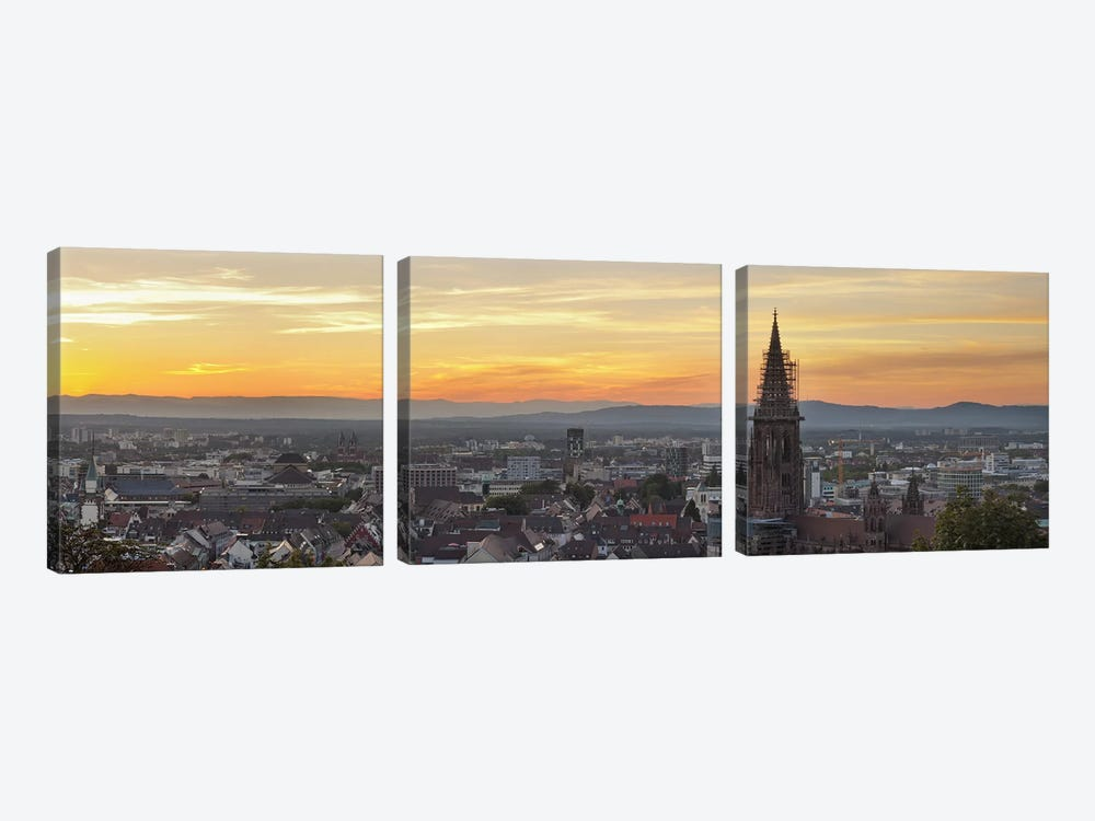 Tower of a cathedral, Freiburg Munster, Baden-Wurttemberg, Germany by Panoramic Images 3-piece Art Print