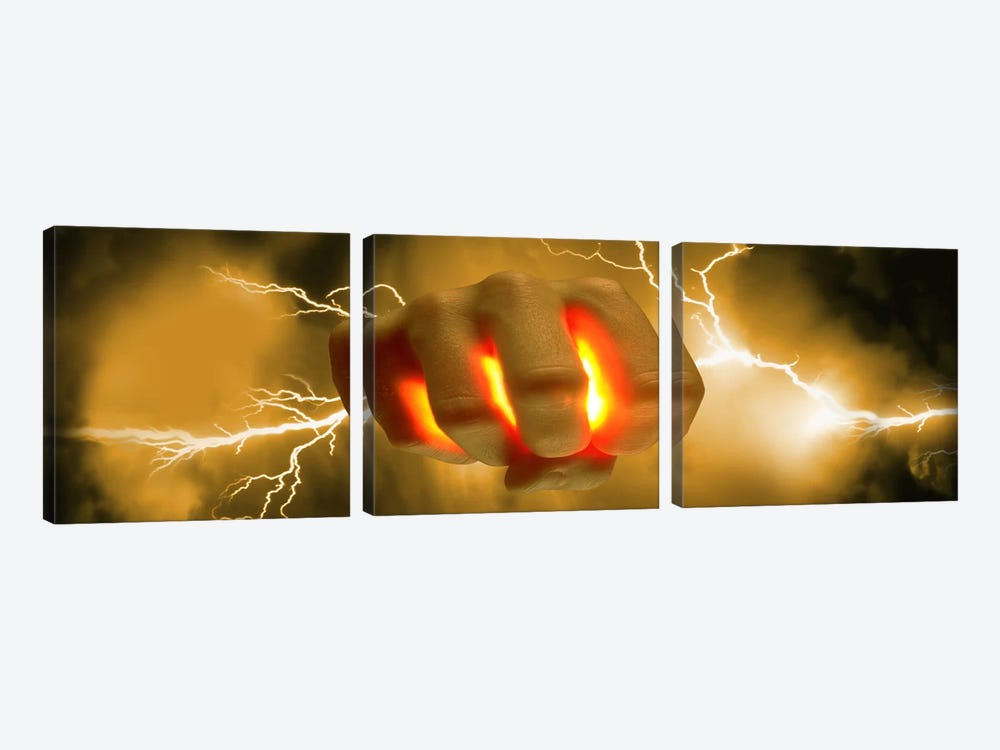 Lightning coming out of hand by Panoramic Images 3-piece Canvas Artwork