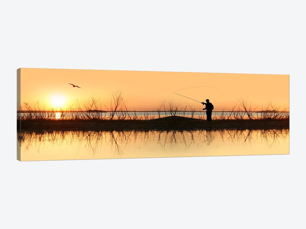 Silhouette of a man fishing by Panoramic Images 1-piece Canvas Print
