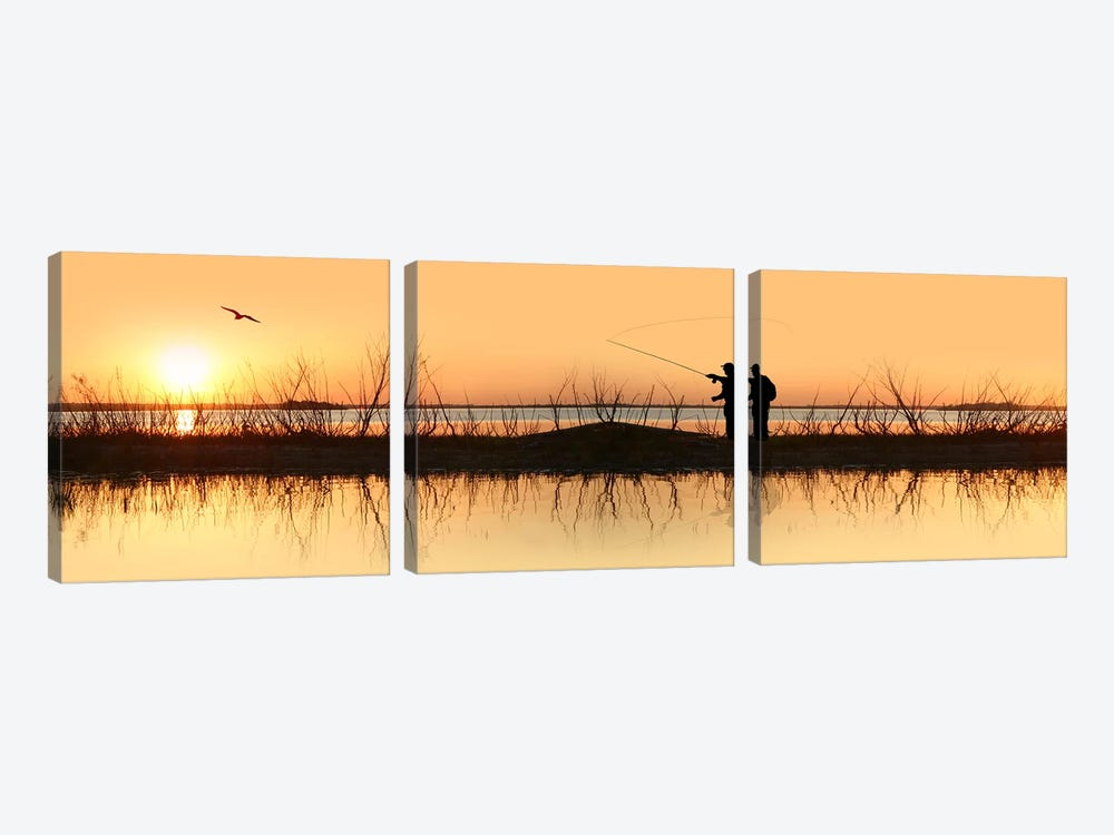 Silhouette of a man fishing by Panoramic Images 3-piece Canvas Print