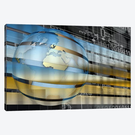 Digital representation of the Earth with grid lines and binary digits Canvas Print #PIM10048} by Panoramic Images Canvas Art