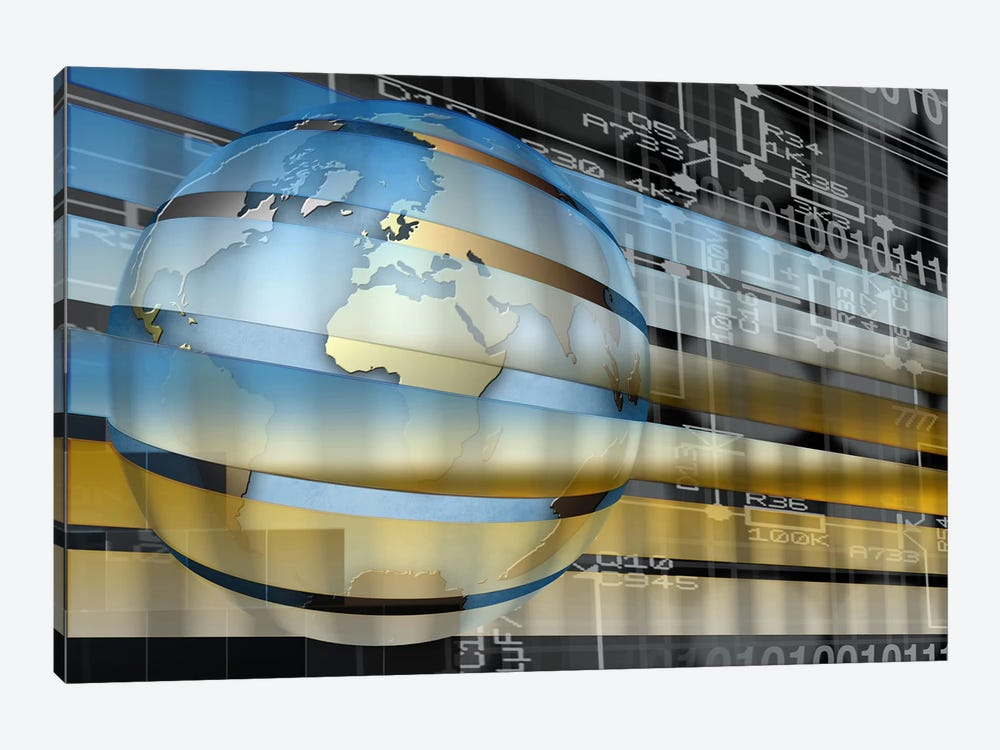 Digital representation of the Earth with grid lines and binary digits by Panoramic Images 1-piece Canvas Artwork