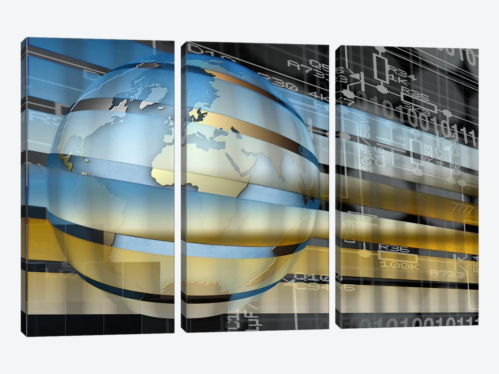 Digital representation of the Earth with grid lines and binary digits by Panoramic Images 3-piece Canvas Artwork