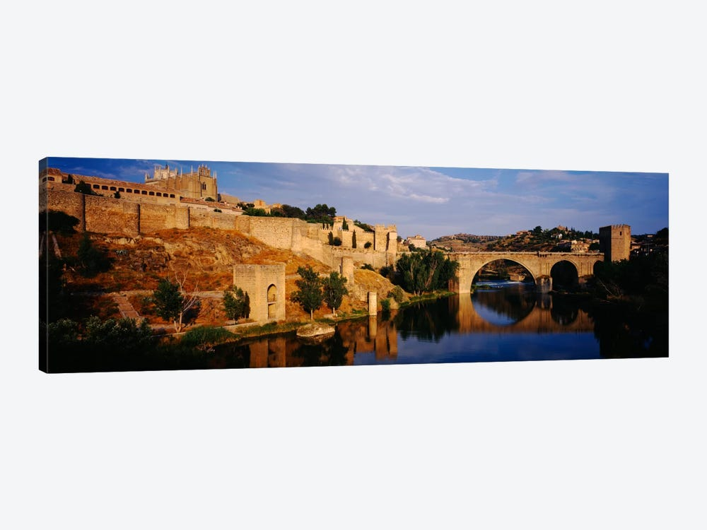 Historic Landscape Along Rio Tajo Featuring Puente de San Martin, Toledo, Spain by Panoramic Images 1-piece Canvas Wall Art