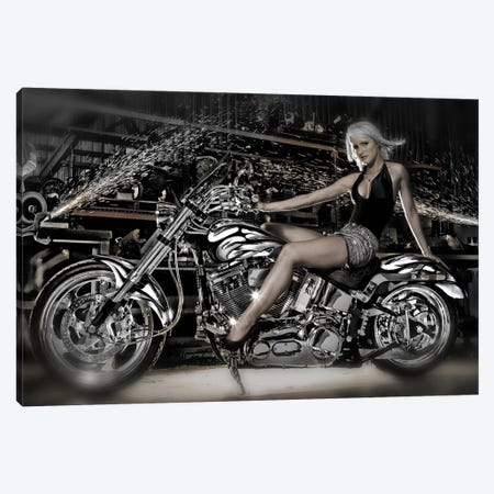 Female model with a motorcycle in a workshop Canvas Print #PIM10055} by Panoramic Images Canvas Artwork