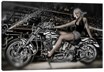 Female model with a motorcycle in a workshop Canvas Art Print