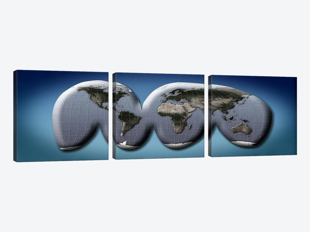 Map of world from Goode's homolosine projection by Panoramic Images 3-piece Art Print