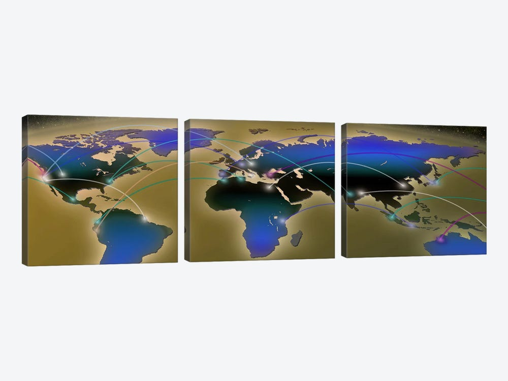 Map with communication lines by Panoramic Images 3-piece Canvas Wall Art