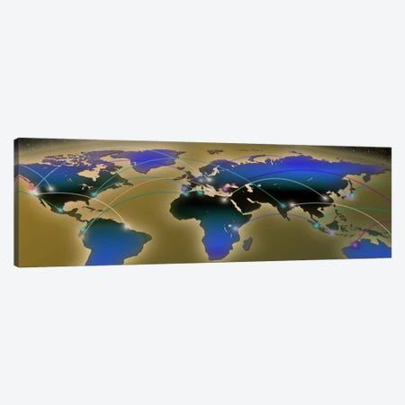 Map with communication lines Canvas Print #PIM10057} by Panoramic Images Canvas Art