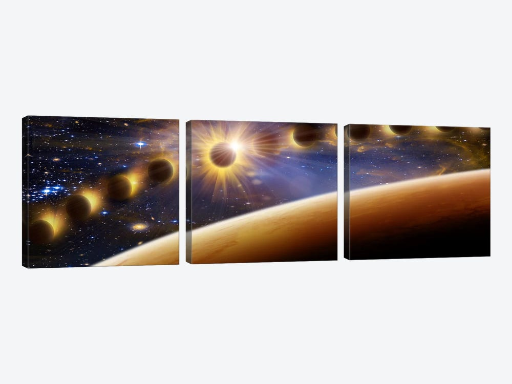 Eclipse of the sun by Panoramic Images 3-piece Canvas Print
