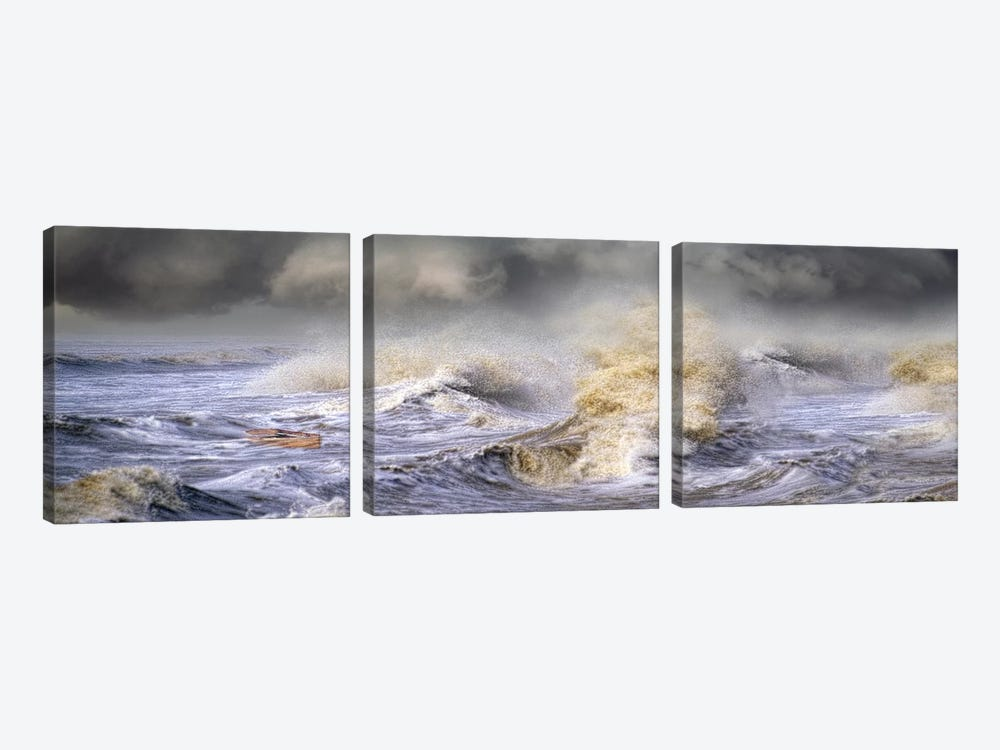 Small boat in storm by Panoramic Images 3-piece Canvas Wall Art