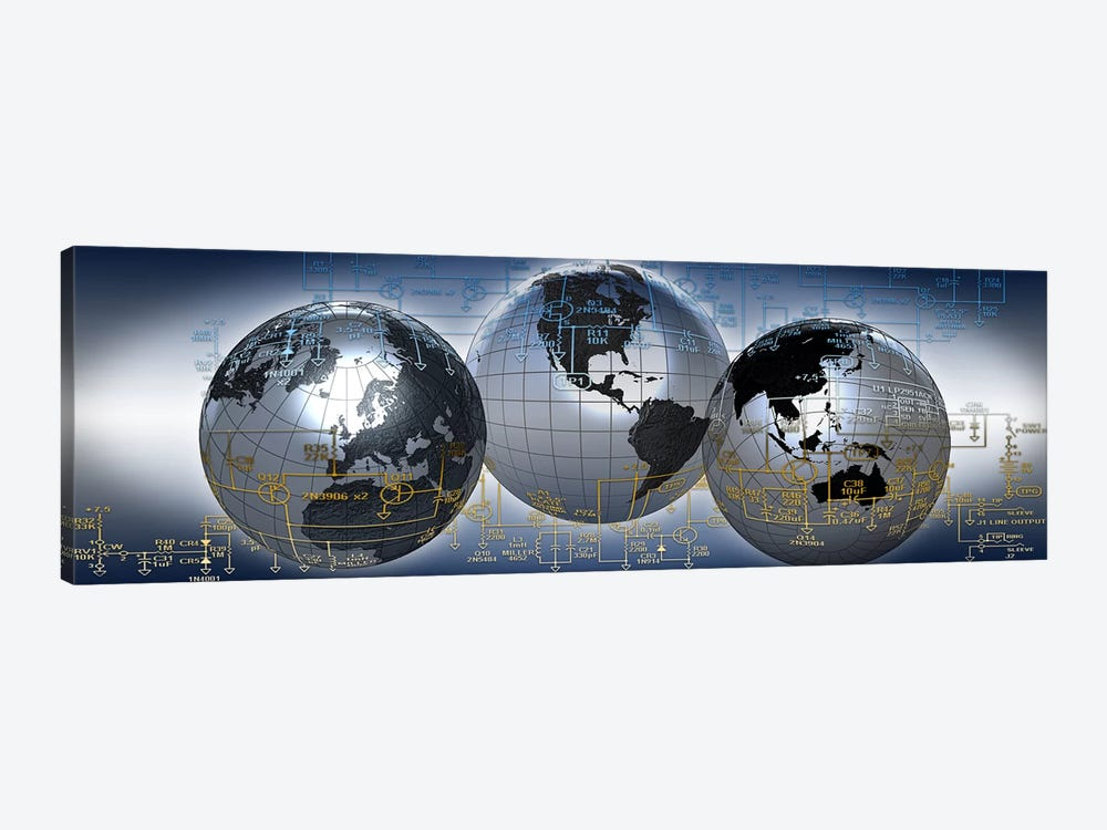Three globes with electronic diagram 1-piece Art Print