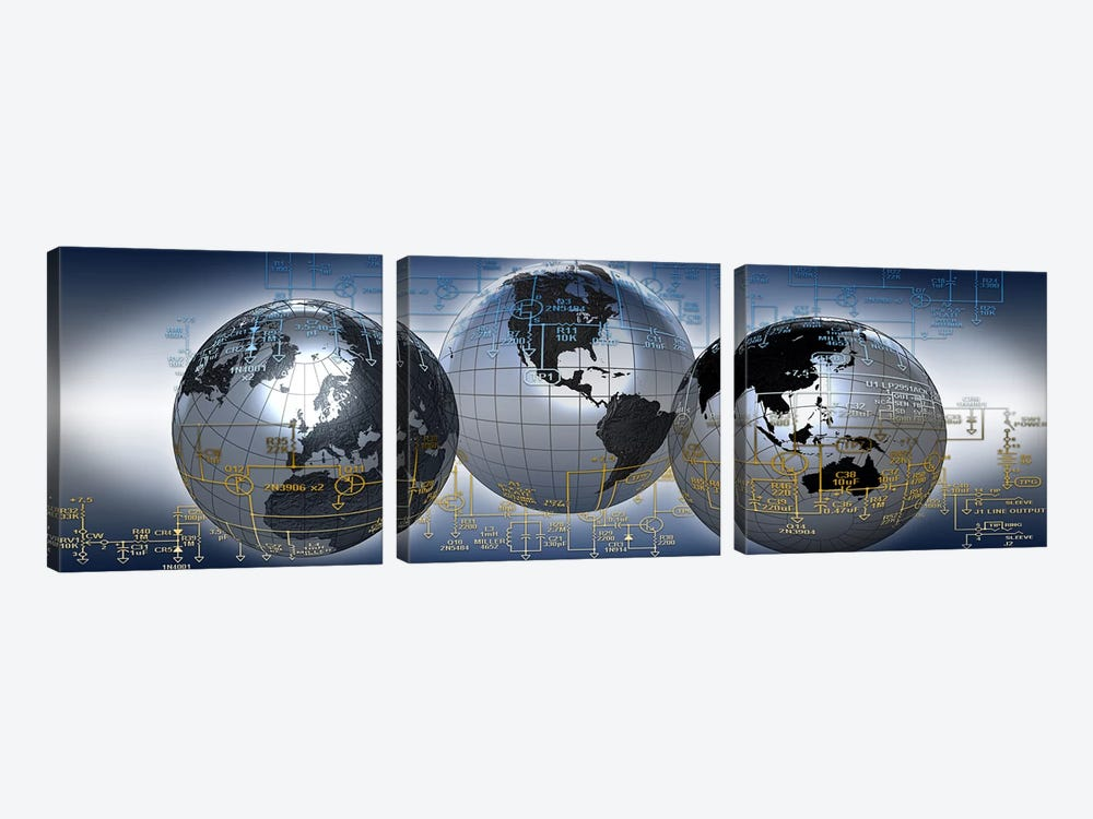 Three globes with electronic diagram by Panoramic Images 3-piece Canvas Print