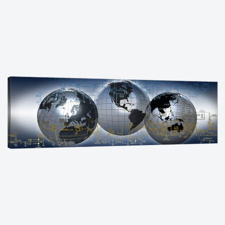 Three globes with electronic diagram Canvas Print #PIM10061} by Panoramic Images Canvas Artwork