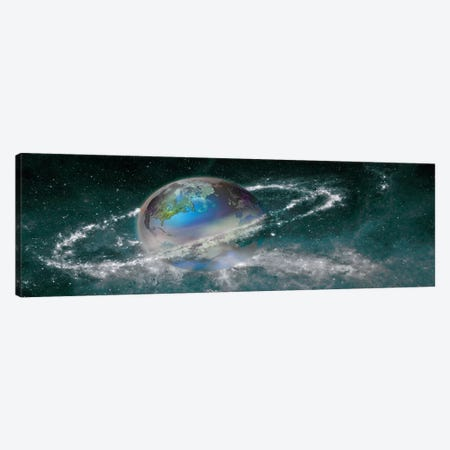Earth in star field Canvas Print #PIM10062} by Panoramic Images Canvas Artwork