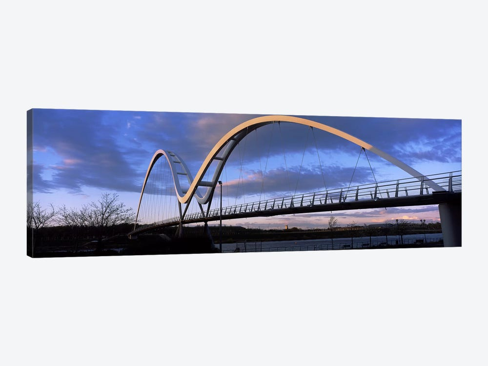 Modern bridge over a riverInfinity Bridge, River Tees, Stockton-On-Tees, Cleveland, England by Panoramic Images 1-piece Canvas Artwork