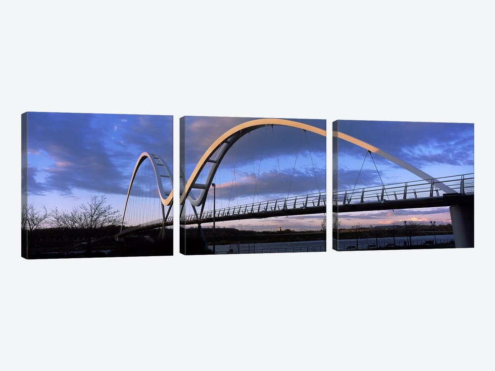 Modern bridge over a riverInfinity Bridge, River Tees, Stockton-On-Tees, Cleveland, England by Panoramic Images 3-piece Canvas Artwork