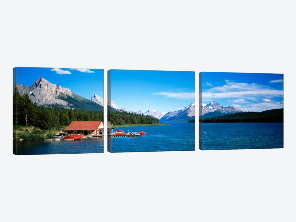 Canada, Alberta, Maligne Lake by Panoramic Images 3-piece Canvas Art Print