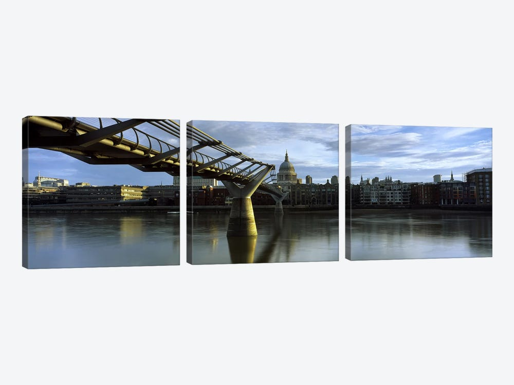 London Millennium Footbridge And St. Paul's Cathedral, London, England, United Kingdom by Panoramic Images 3-piece Canvas Print