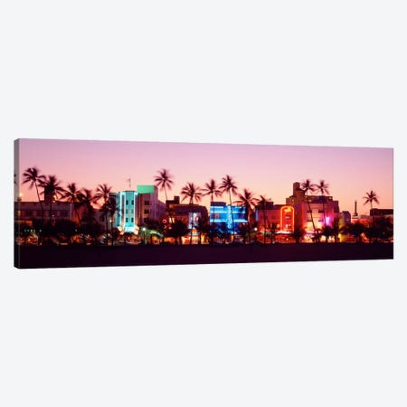Night, Ocean Drive, Miami Beach, Florida, USA Canvas Print #PIM1012} by Panoramic Images Canvas Artwork