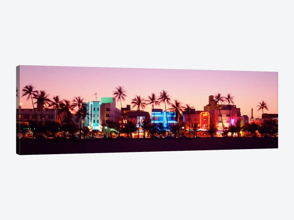 Night, Ocean Drive, Miami Beach, Florida, USA by Panoramic Images 1-piece Canvas Art Print