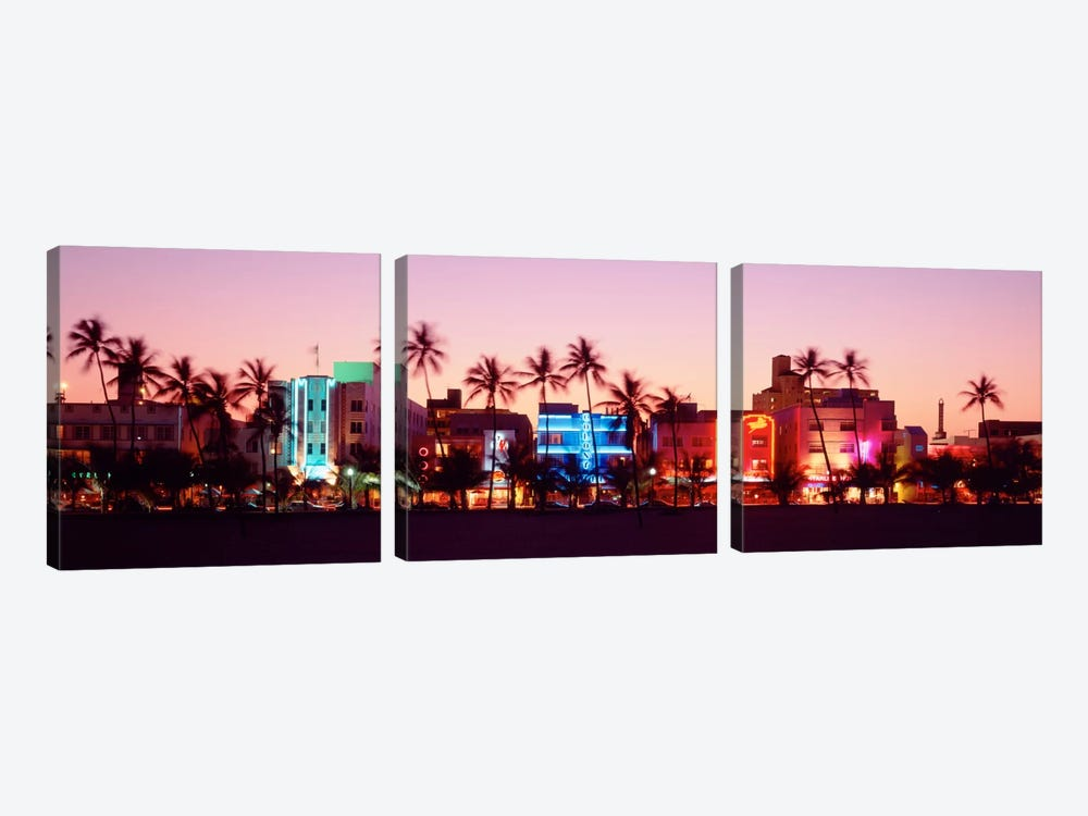 Night, Ocean Drive, Miami Beach, Florida, USA by Panoramic Images 3-piece Canvas Print