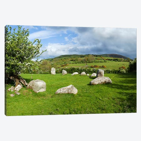 Piper's Stone, Bronze Age Stone Circle (1400-800 BC) of 14 Granite Boulders, Near Hollywood, County Wicklow, Ireland Canvas Print #PIM10135} by Panoramic Images Canvas Art Print