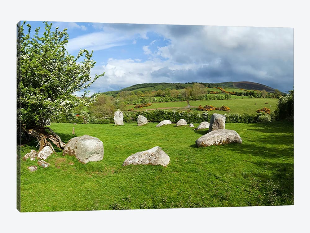 Piper's Stone, Bronze Age Stone Circle (1400-800 BC) of 14 Granite Boulders, Near Hollywood, County Wicklow, Ireland 1-piece Canvas Art Print