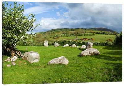 Piper's Stone, Bronze Age Stone Circle (1400-800 BC) of 14 Granite Boulders, Near Hollywood, County Wicklow, Ireland Canvas Art Print