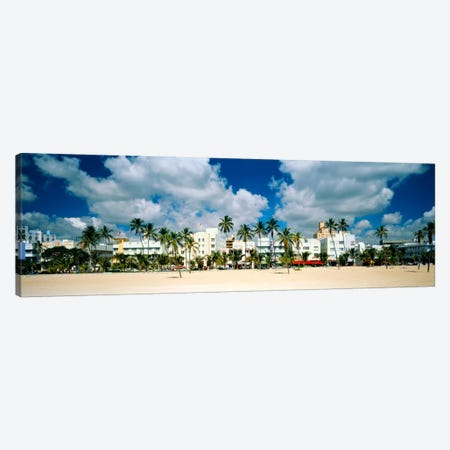 Hotels on the beach, Art Deco Hotels, Ocean Drive, Miami Beach, Florida, USA Canvas Print #PIM1013} by Panoramic Images Canvas Artwork