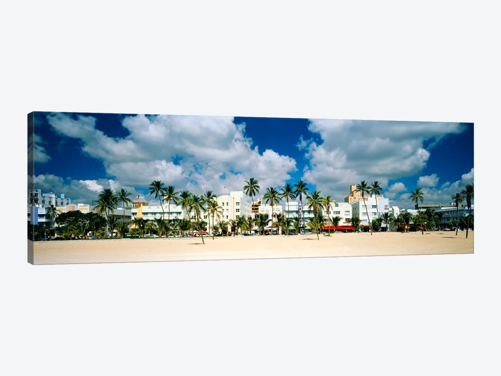 Hotels on the beach, Art Deco Hotels, Ocean Drive, Miami Beach, Florida, USA by Panoramic Images 1-piece Canvas Wall Art