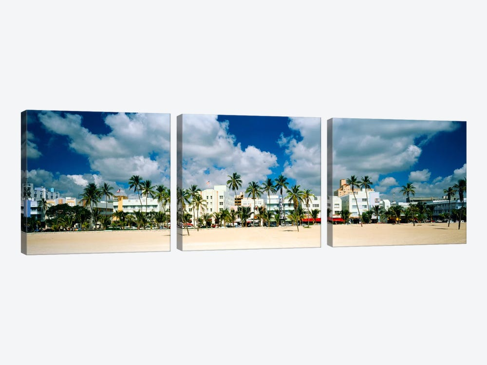 Hotels on the beach, Art Deco Hotels, Ocean Drive, Miami Beach, Florida, USA by Panoramic Images 3-piece Canvas Wall Art