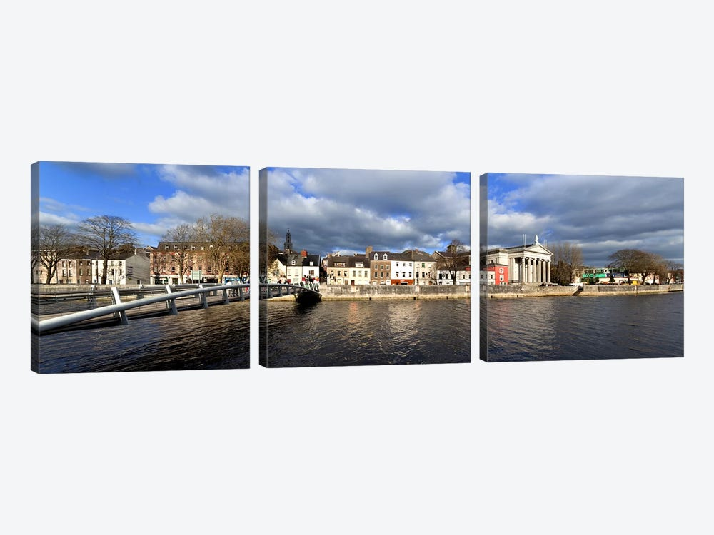 The Millenium Foot Bridge Over the River Lee,St Annes Church Behind, And St Mary's Church (right),Cork City, Ireland by Panoramic Images 3-piece Canvas Print