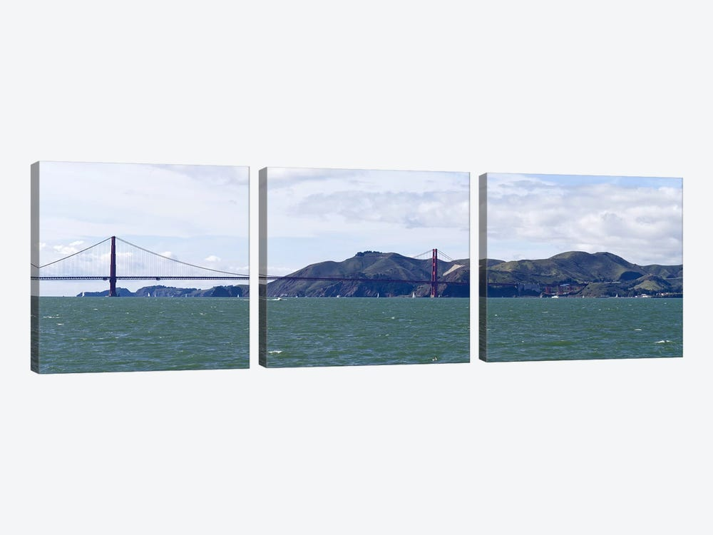 Golden Gate BridgeMarin Headlands, Mount Tamalpais, Sausilito, San Francisco Bay, San Francisco, California, USA by Panoramic Images 3-piece Canvas Art
