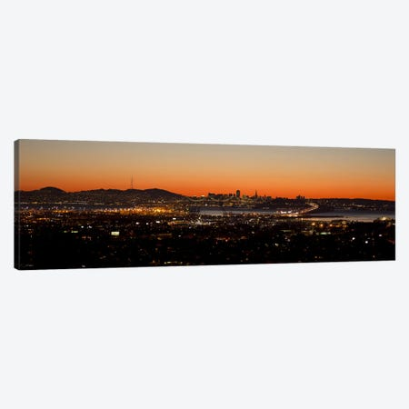 City view at dusk, Oakland, San Francisco Bay, San Francisco, California, USA Canvas Print #PIM10148} by Panoramic Images Canvas Art Print