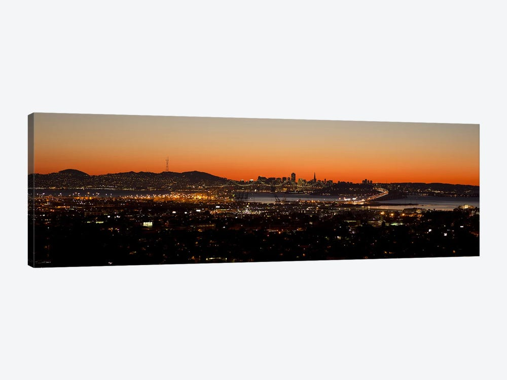City view at dusk, Oakland, San Francisco Bay, San Francisco, California, USA by Panoramic Images 1-piece Art Print