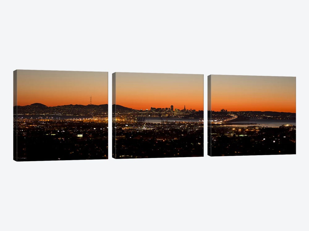 City view at dusk, Oakland, San Francisco Bay, San Francisco, California, USA by Panoramic Images 3-piece Art Print