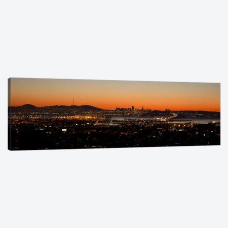 City view at dusk, Oakland, San Francisco Bay, San Francisco, California, USA Canvas Print #PIM10148} by Panoramic Images Canvas Art Print