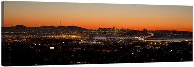 City view at dusk, Oakland, San Francisco Bay, San Francisco, California, USA Canvas Art Print