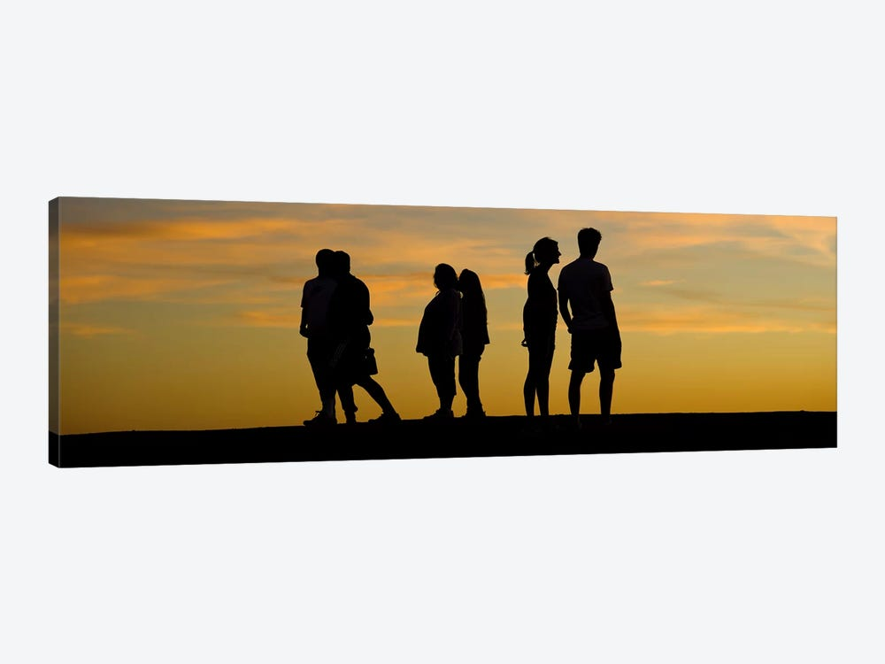 Silhouette of people on a hill, Baldwin Hills Scenic Overlook, Los Angeles County, California, USA by Panoramic Images 1-piece Canvas Art Print