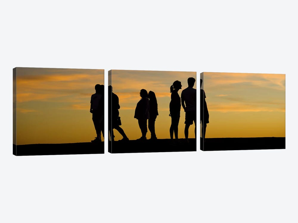 Silhouette of people on a hill, Baldwin Hills Scenic Overlook, Los Angeles County, California, USA by Panoramic Images 3-piece Art Print