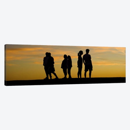 Silhouette of people on a hill, Baldwin Hills Scenic Overlook, Los Angeles County, California, USA Canvas Print #PIM10153} by Panoramic Images Canvas Art