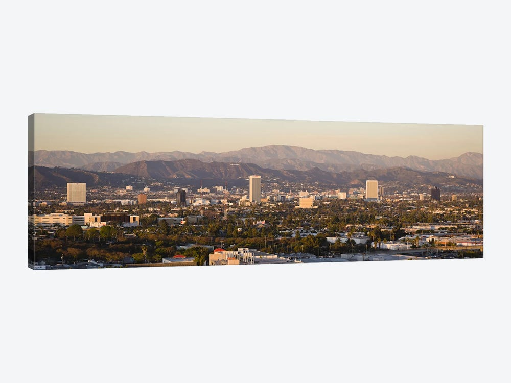 Buildings in a city, Miracle Mile, Hayden Tract, Hollywood, Griffith Park Observatory, Los Angeles, California, USA by Panoramic Images 1-piece Art Print