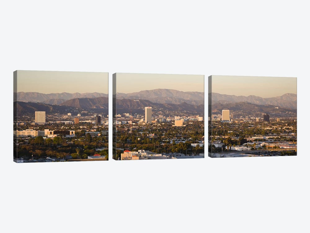 Buildings in a city, Miracle Mile, Hayden Tract, Hollywood, Griffith Park Observatory, Los Angeles, California, USA by Panoramic Images 3-piece Art Print
