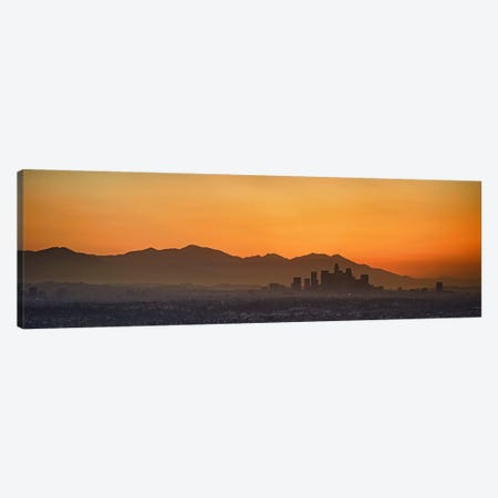 Mountain range at dusk, San Gabriel Mountains, Los Angeles, California, USA Canvas Print #PIM10158} by Panoramic Images Canvas Artwork