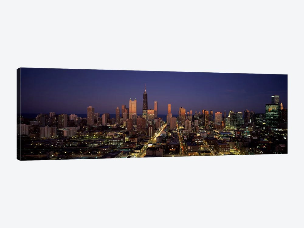 Skyscrapers in a city lit up at dusk, Chicago, Illinois, USA by Panoramic Images 1-piece Canvas Art